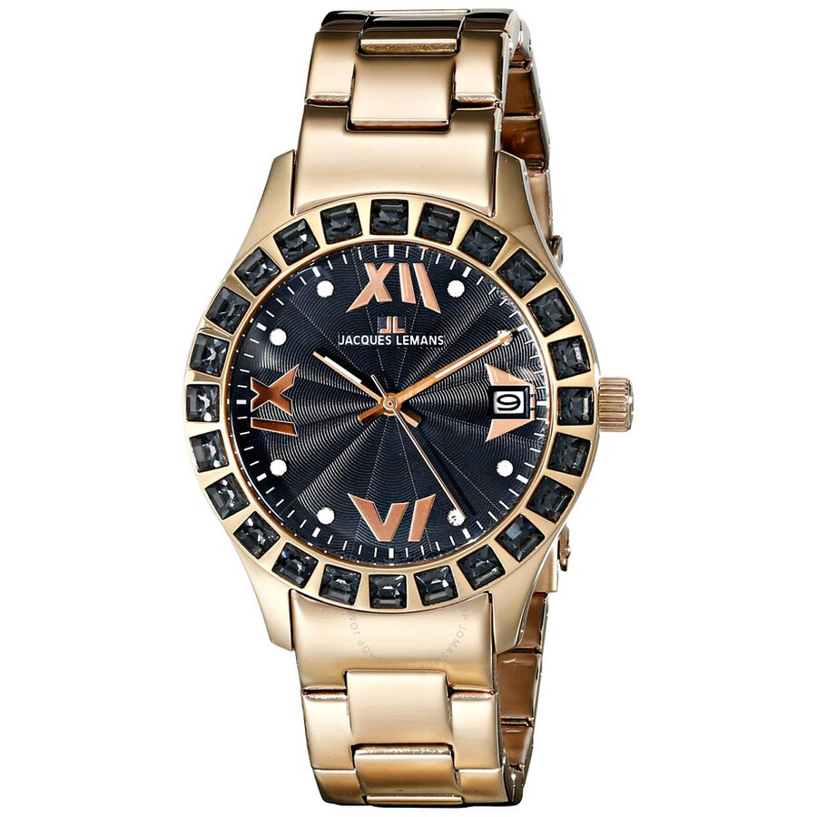 Jacques Lemans Rome Black Dial Gold Tone Ladies Watch 1-1517ZH