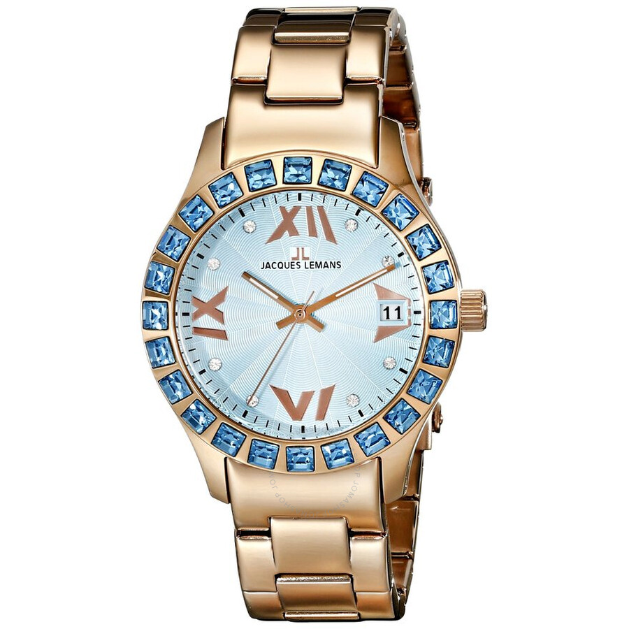 Jacques Lemans Rome Blue Dial Rose Gold Tone Ladies Watch 1-1517ZK