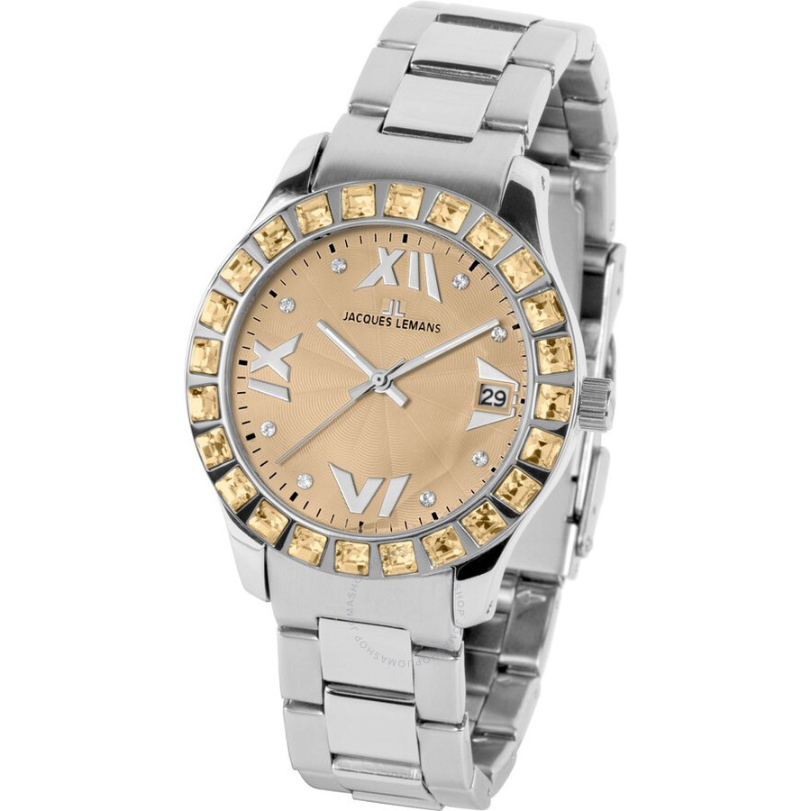 Jacques Lemans Rome Champagne Dial Stainless Steel Ladies Watch 1-1517X