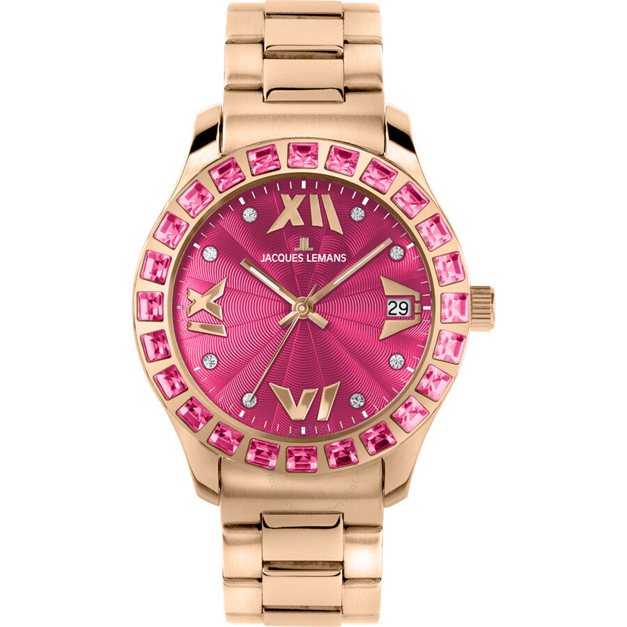 Jacques Lemans Rome Pink Dial Rose Gold-tone Ladies Watch 1-1517ZJ