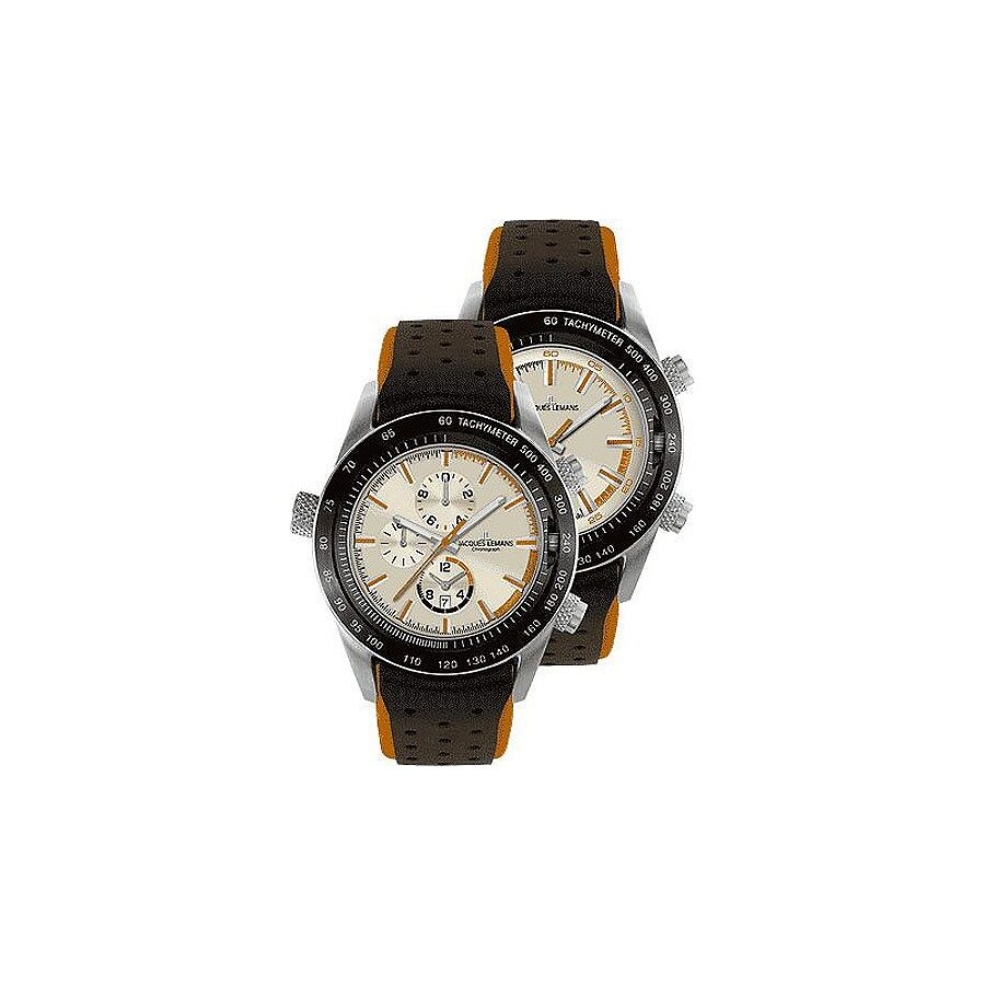 Jacques Lemans Turnable Dualtime Chronograph Mens Watch 1-1515D