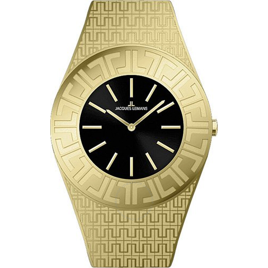 Jacques Lemans Vedette Black Dial Gold-Tone Stainless Steel Ladies Watch 1-1478C