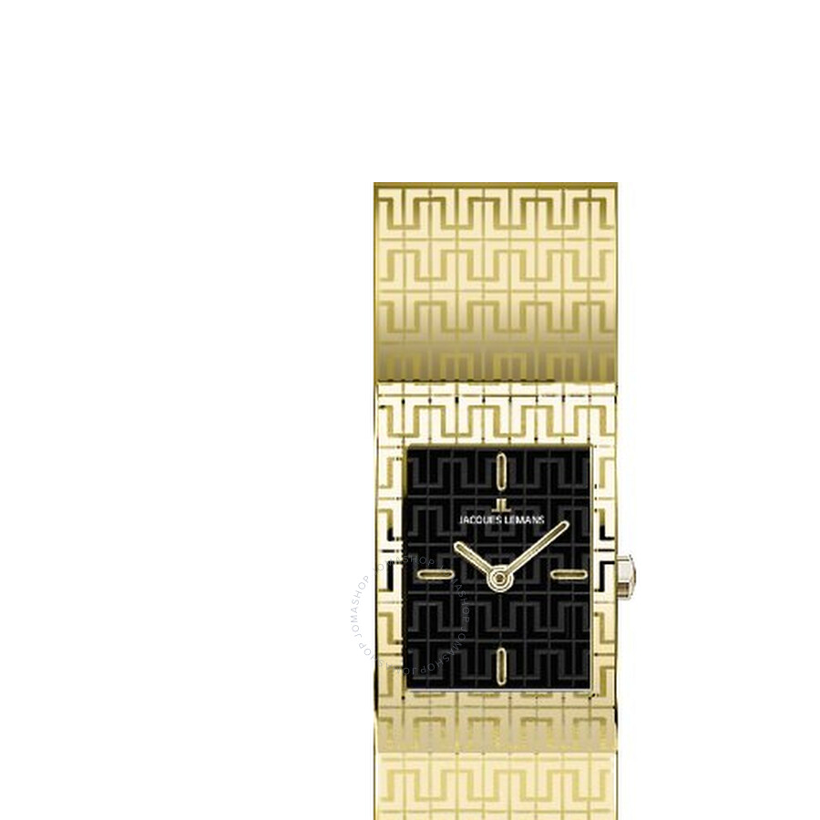 Jacques Lemans Vedette Black Dial Gold-Tone Stainless Steel Ladies Watch 1-1510C