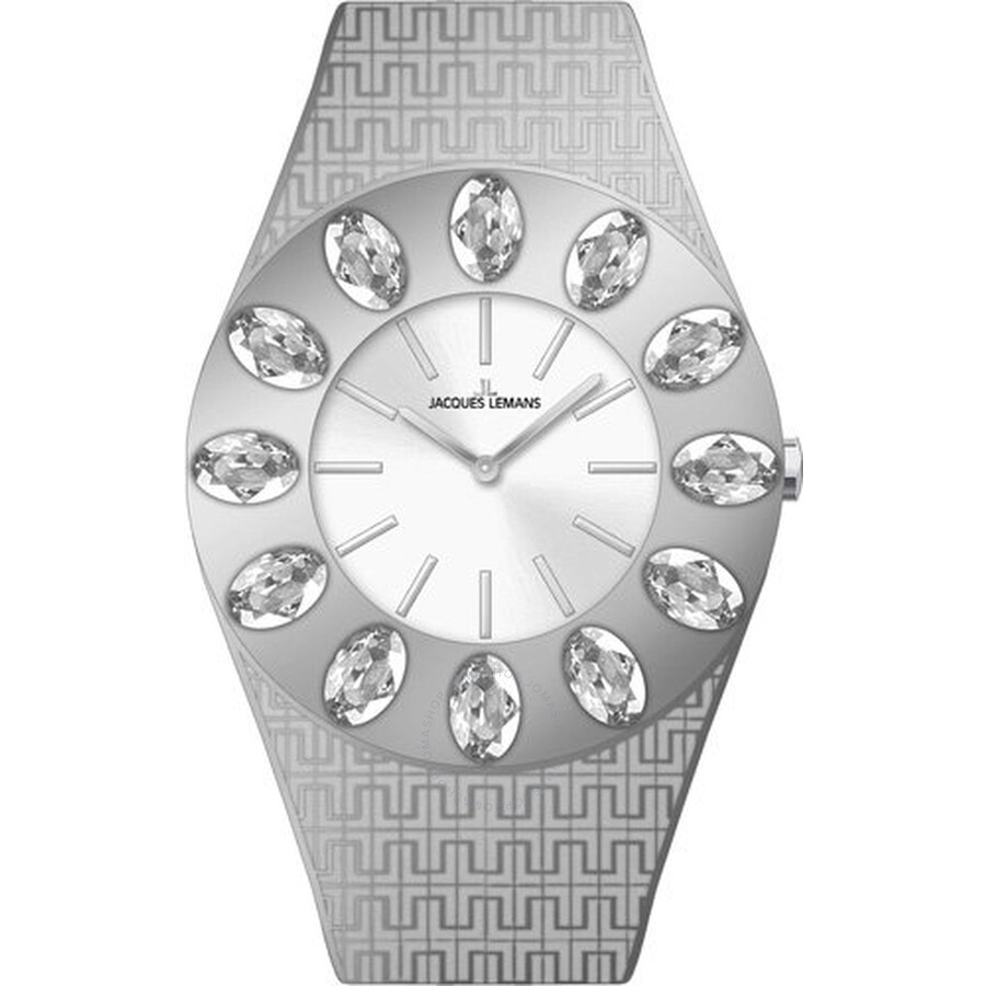 Jacques Lemans Vedette Silver Dial Stainless Steel Ladies Watch 1-1458A