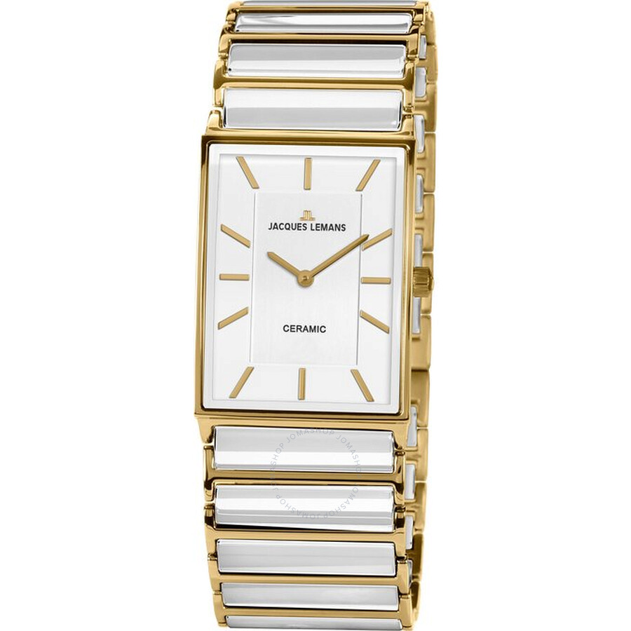 Jacques Lemans White Dial Ceramic and Gold-Tone Steel Ladies Watch 1-1651F