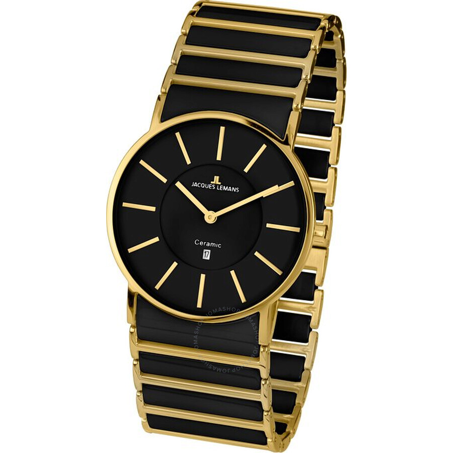 Jacques Lemans York Black Dial Ceramic and Gold-Tone Ladies Watch