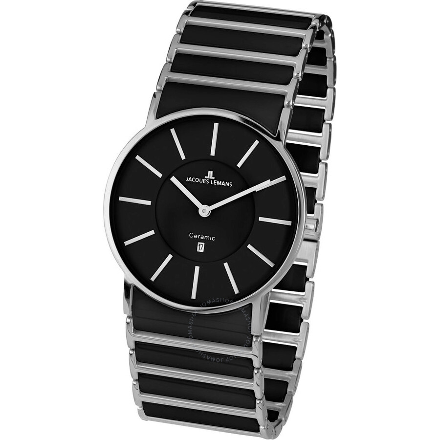 Jacques Lemans York Black Dial Ceramic and Stainless Steel Ladies Watch 1-1648A