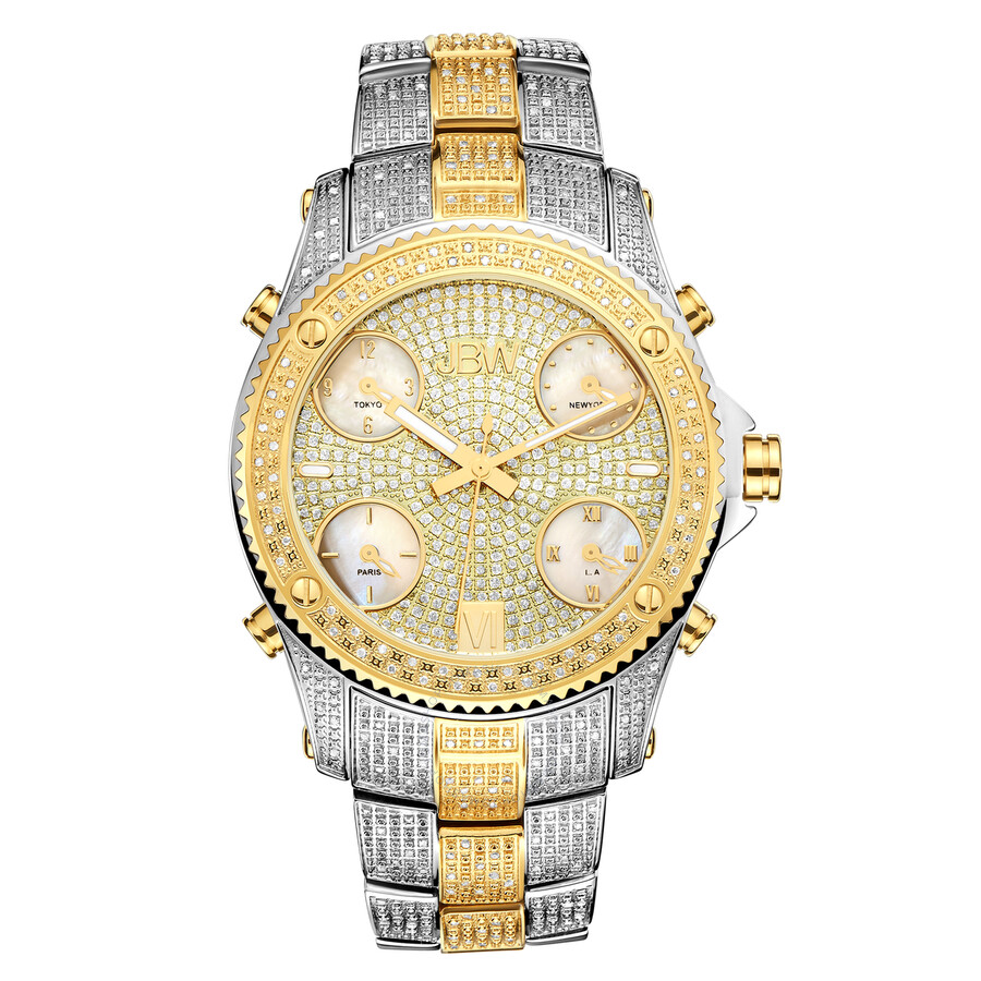 jbw male jbw jet setter twotone stainless steel diamond multiple timezone mens watch jb6213e