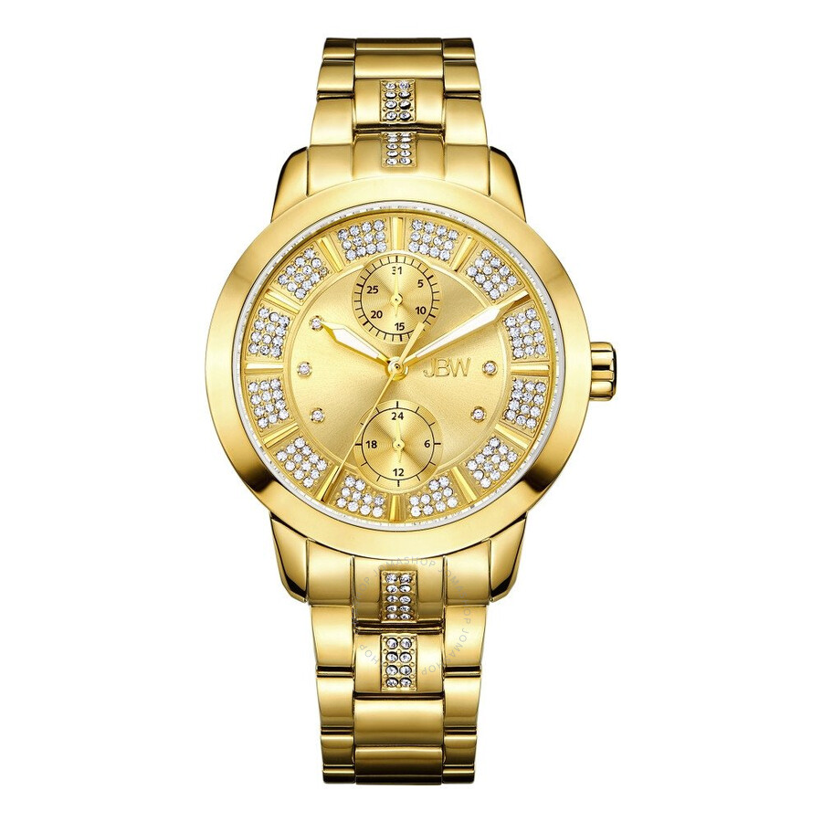 jbw female jbw lumen gold dial 18kt goldplated stainless steel diamond ladies watch j6341f