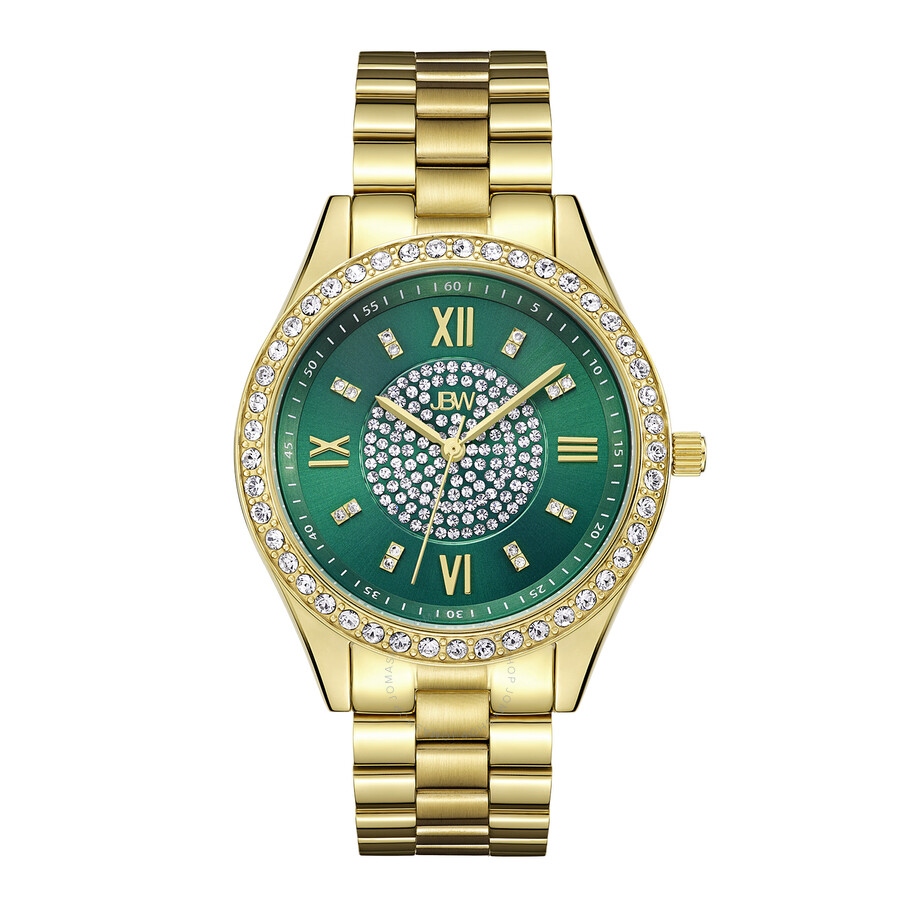 dial plated steel green mondrian watch stainless gold ladies diamond jbw