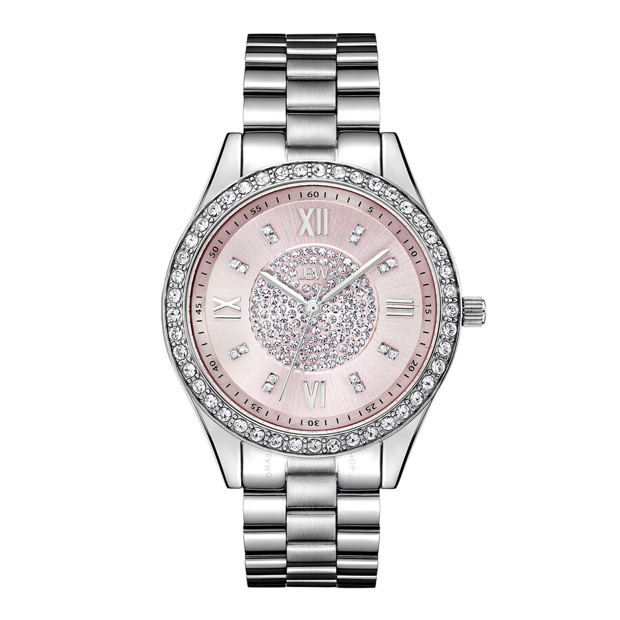 JBW Mondrian Pink Diamond Dial Stainless Steel Ladies Watch J6303F