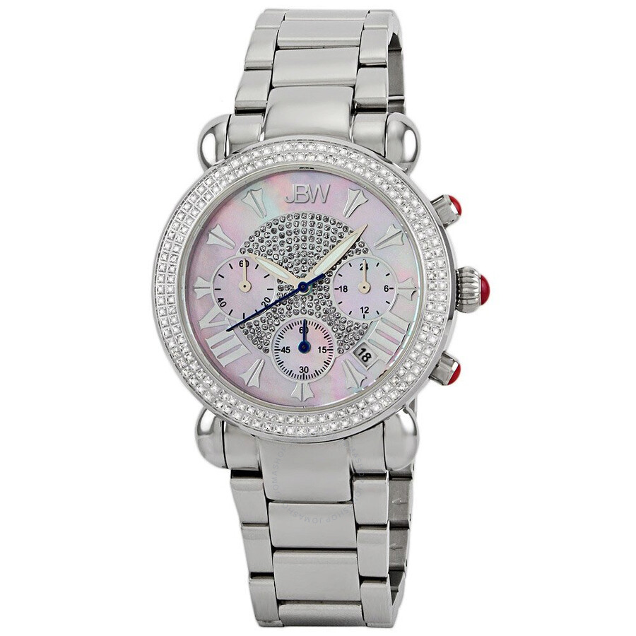 JBW Victory Chronograph Diamond Mother of Pearl Dial Steel Ladies Watch JB-6210-160-C
