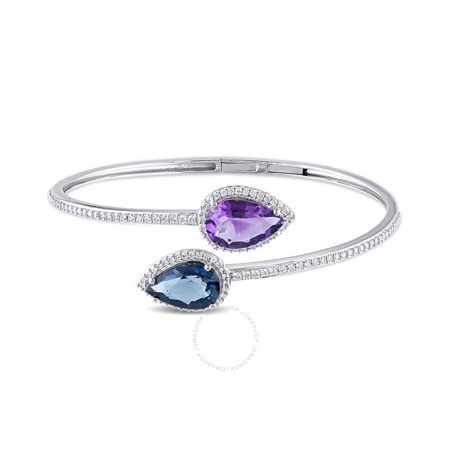 JoyJB 3/4 CT Diamond TW And 6 5/8 CT TGW Amethyst Blue Topaz - London Bangle..