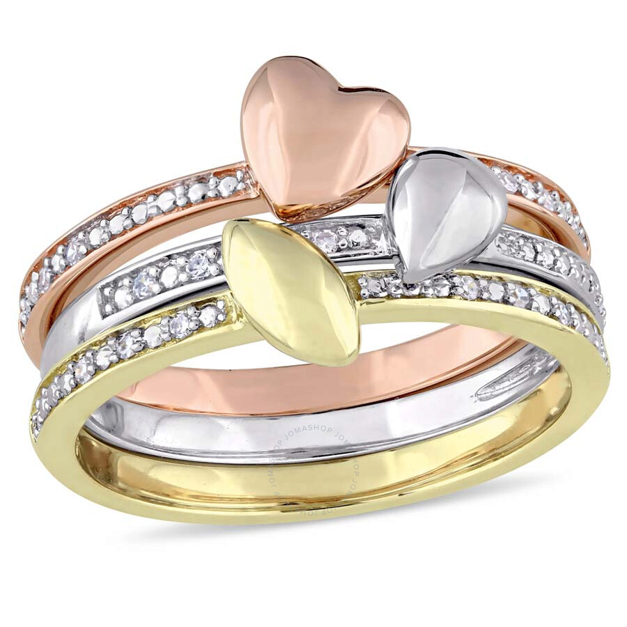 Julianna B 1/10 CT TW Diamond 3-pc Stackable 14K Tri Color Gold Ring  Set