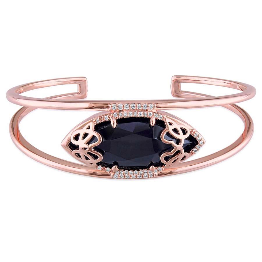 Julianna B Duchesse Black Onyx Diamond Pink Gold-Plated Sterling Silver Bangle