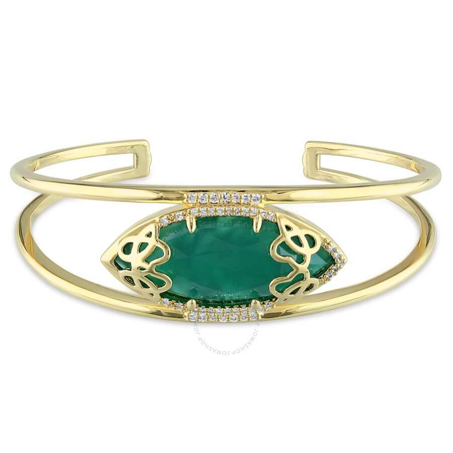 Julianna B Duchesse Green Onyx Diamond Yellow Gold-Plated Sterling Silver Ba..