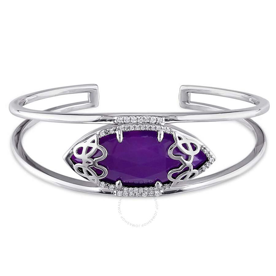 Julianna B Duchesse Purple Chalcedony Diamond Sterling Silver Bangle