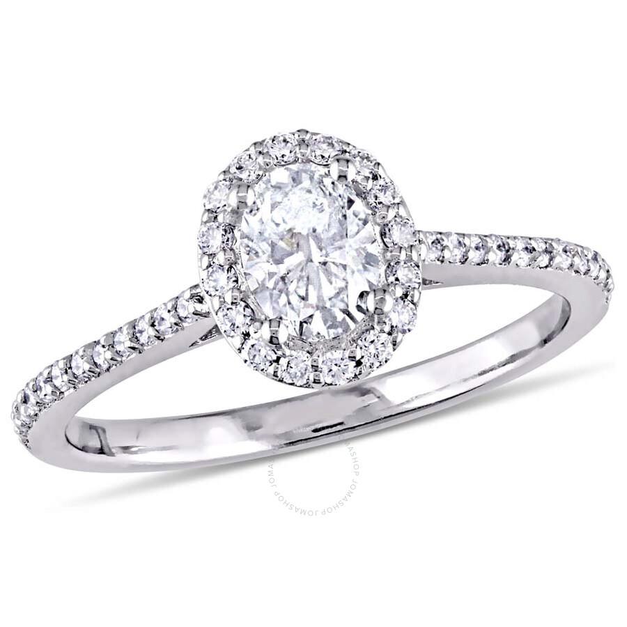 Julianna B.14K White Gold Oval Halo 3/4 CT Diamond Ring - Size 8
