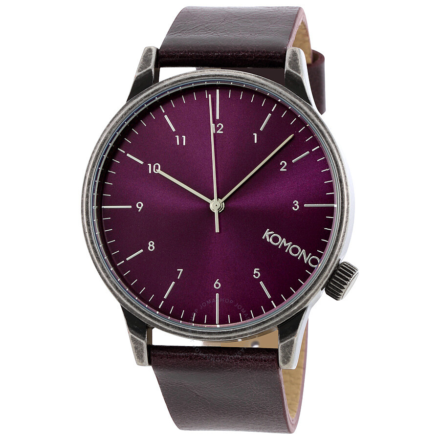Komono winston purple dial regal purple leather men 39 s watch w2252 komono watches jomashop for Violet leather strap watch