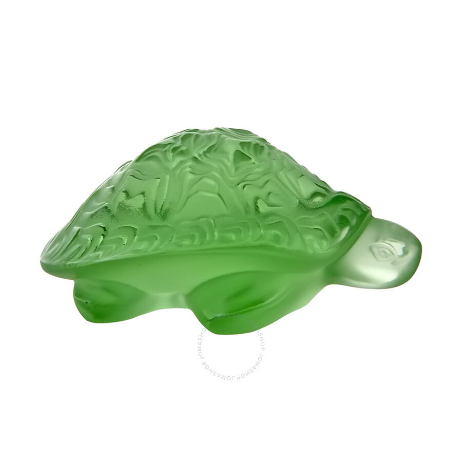 Lalique Green Sidonie Turtle Sculpture 1214500