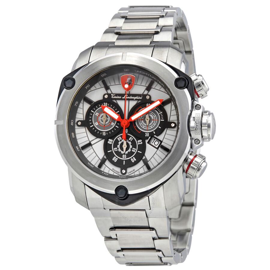 Lamborghini Spyder 3200 Grey Dial Mens Chronograph Watch 3207