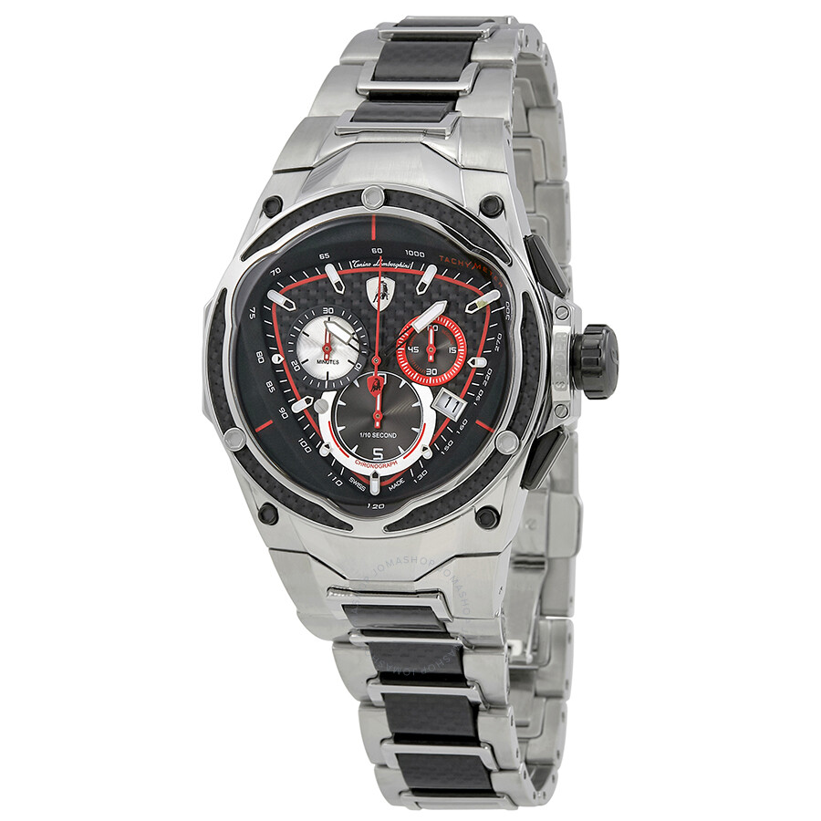 Lamborghini Spyder Red Line Carbon Fiber Dial Mens Chronograph Watch 01