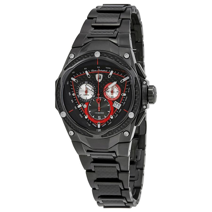 Lamborghini Spyder Red Line Carbon Fiber Dial Mens Chronograph Watch SPYDER ..