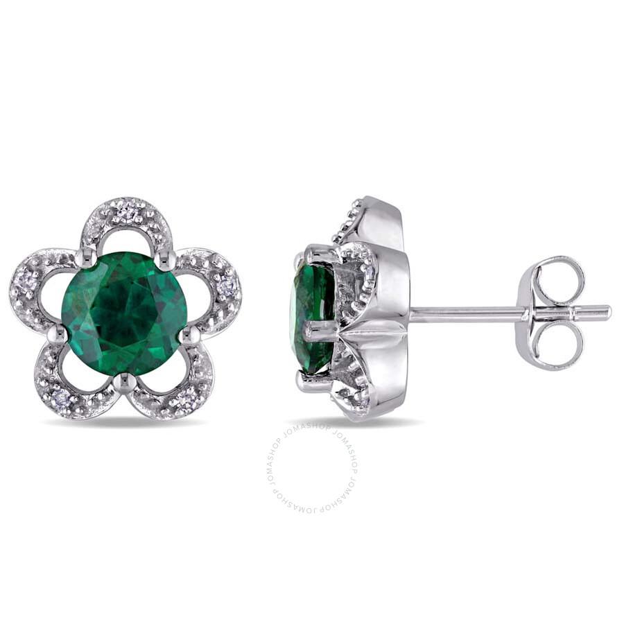 Laura Ashley 0.05 CT TW Diamond & 1 5/8 CT TGW Created Emerald Flower Stud E..