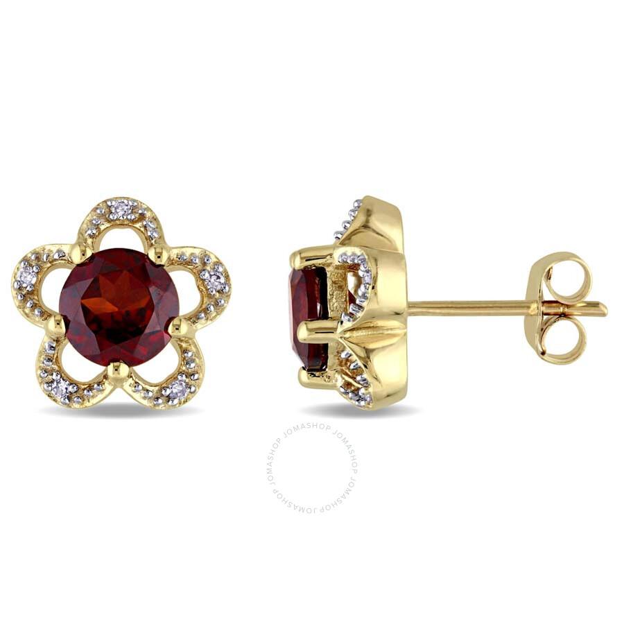 Laura Ashley 0.05 CT TW Diamond & 2 CT TGW Garnet Flower Stud Earrings in 10..