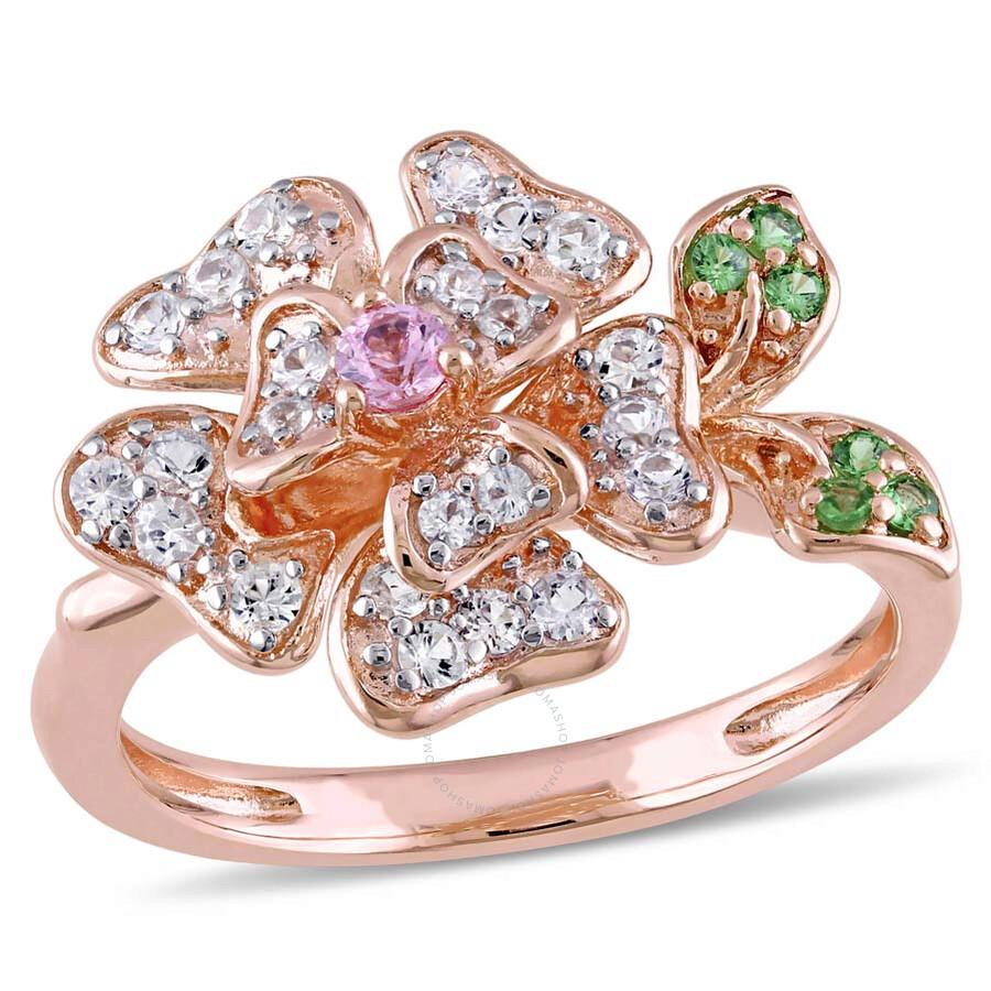 Laura Ashley 046 Ct Tgw White Sapphire Pink Sapphire Tsavorite