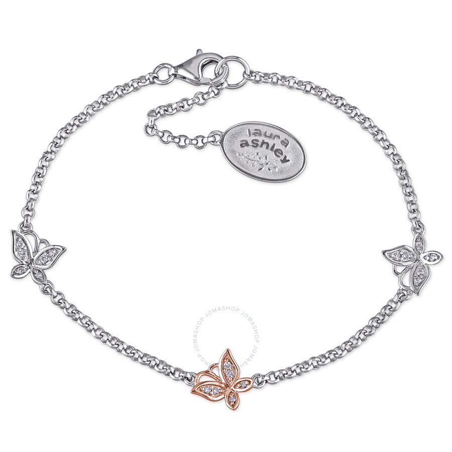 laura ashley laura ashley 1 10 ct tw diamond butterfly bracelet with chain