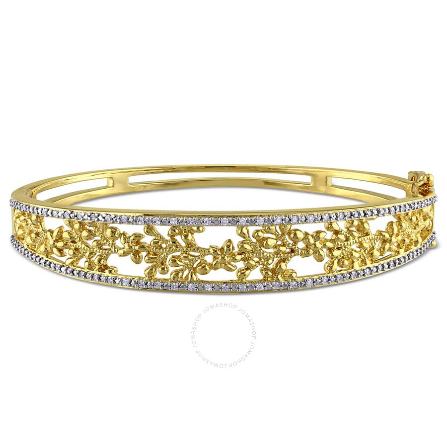 Laura Ashley 1 /3 CT TW Diamond Bangle Yellow plated Sterling Silver