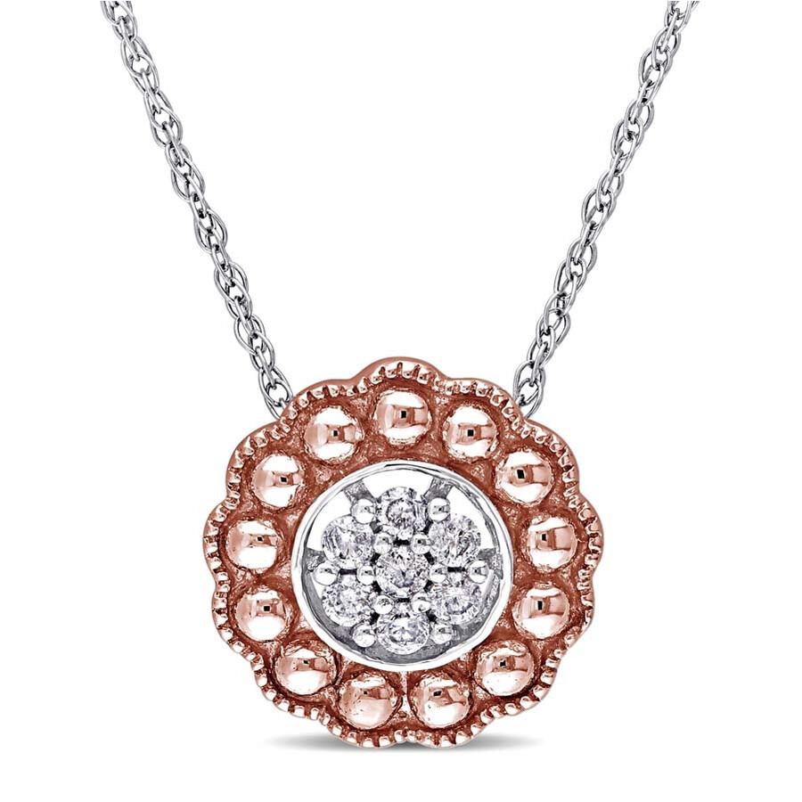 Laura Ashley 1/10 CT Diamond TW Floral Pendant