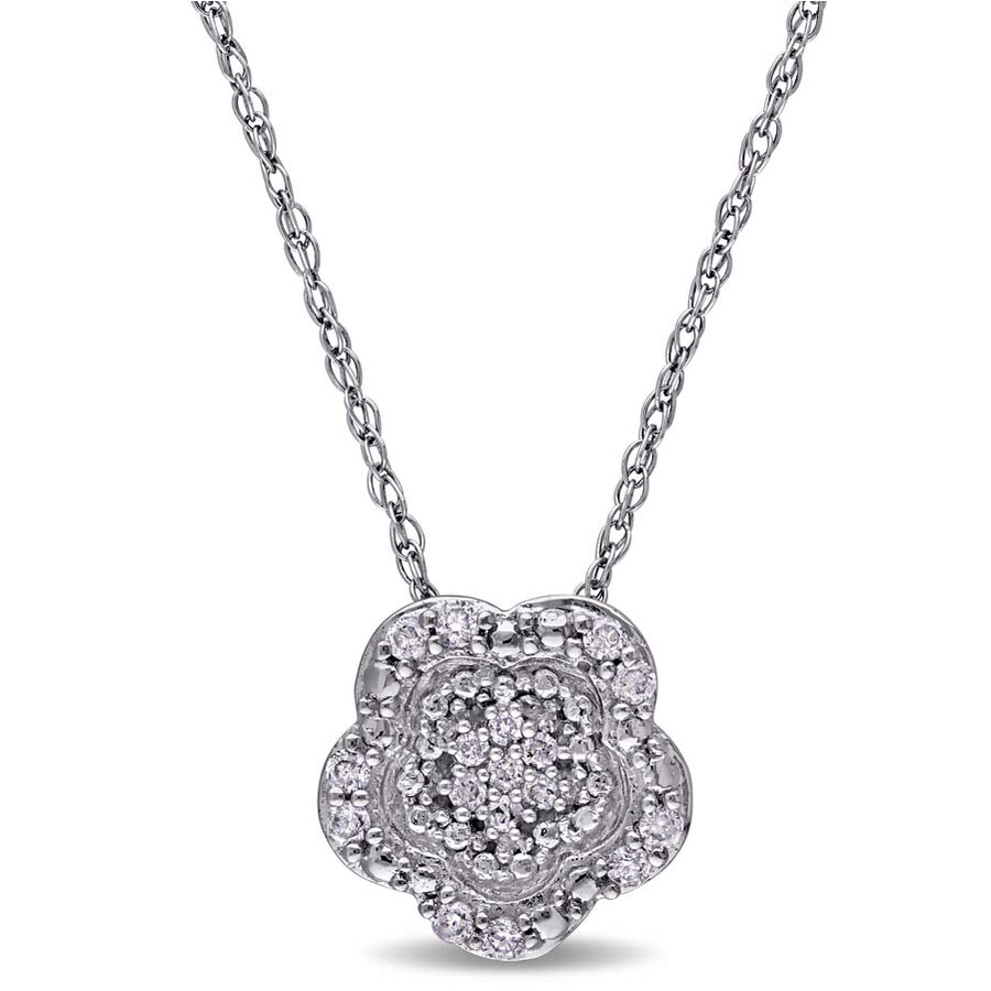 laura ashley laura ashley 110 ct diamond tw flower pendant with chain