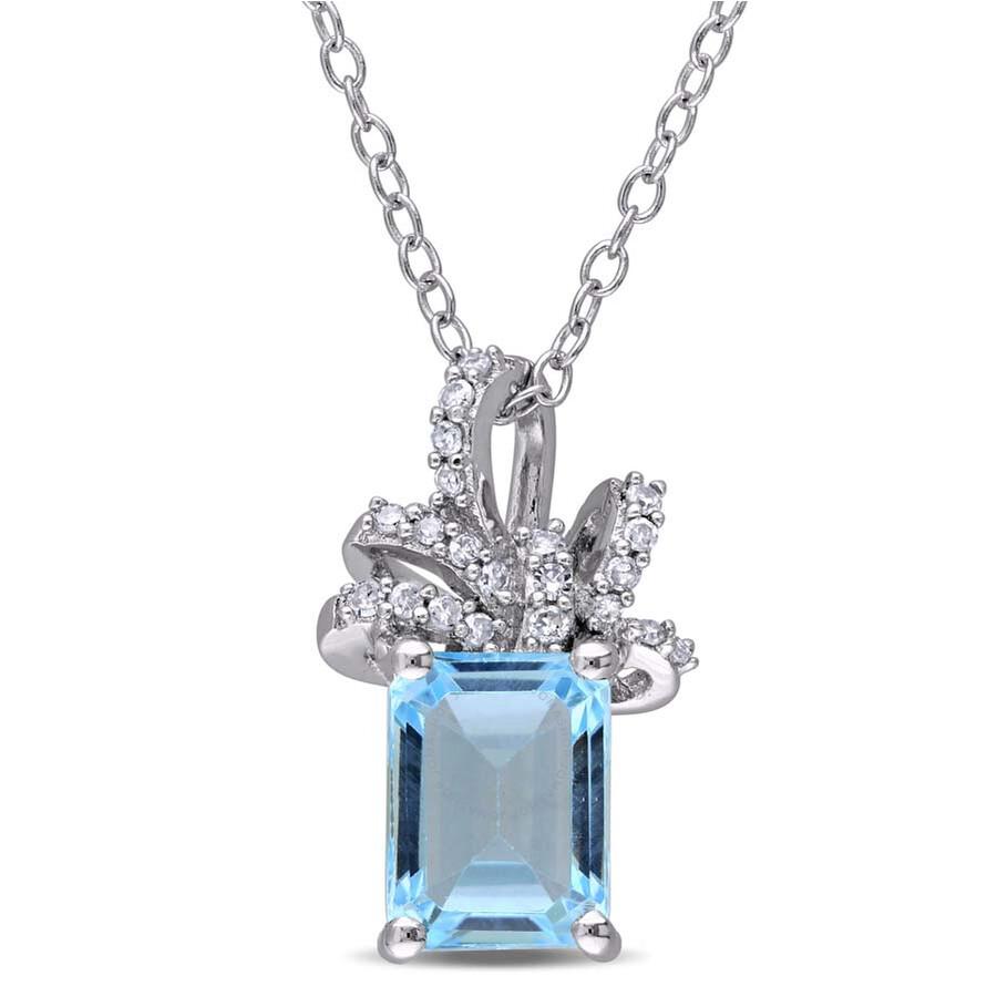 Laura Ashley 1/10 CT TW Diamond & 2 CT TGW Blue Topaz - Sky Ribbon Pendant
