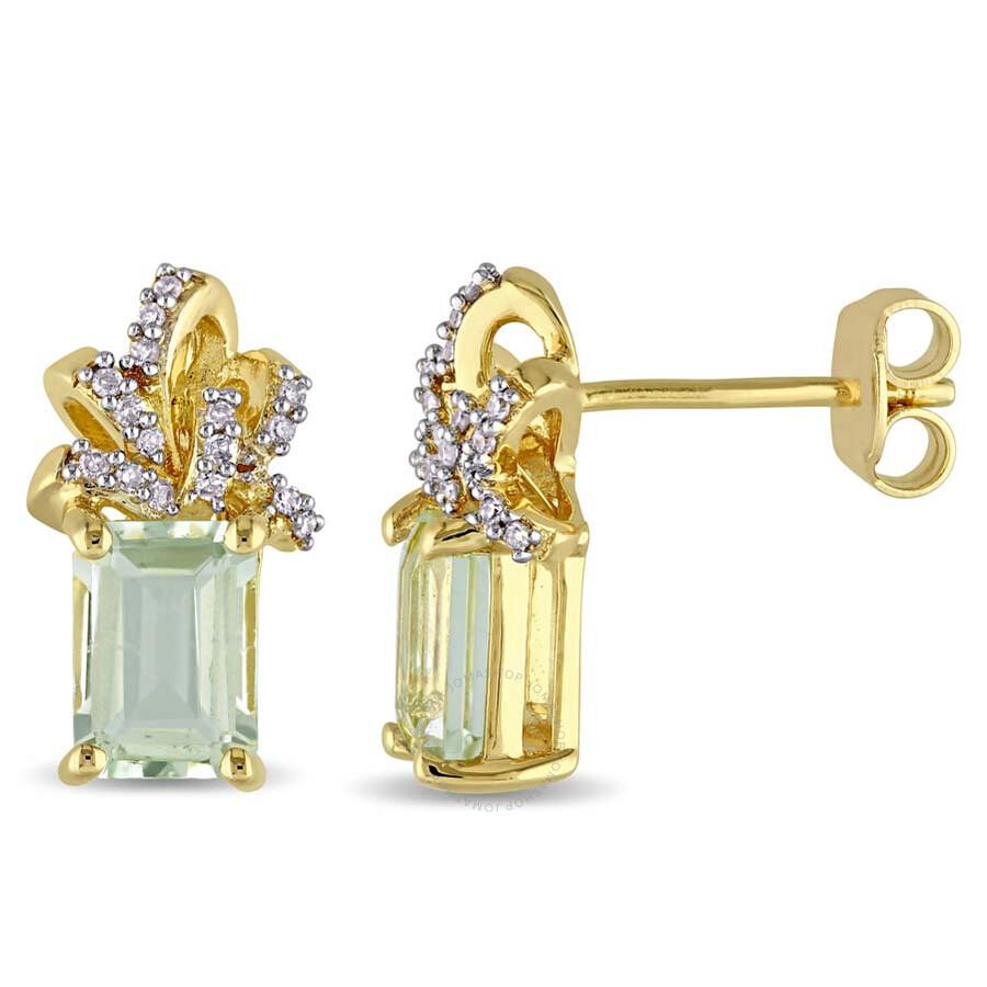 Laura Ashley 1 10 Ct Tw Diamond 2 Tgw Green Amethyst Stud Earrings