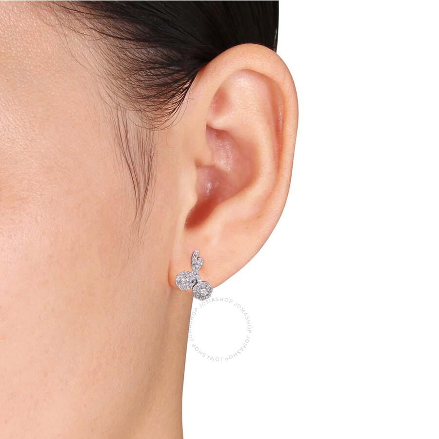 Laura Ashley 1 3 Ct Tw Diamond Stud Earrings In 10k White Gold