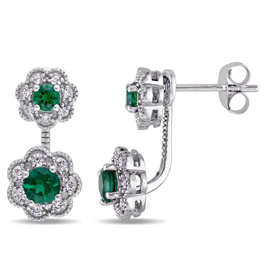 Laura Ashley 1/4 CT TW Diamond & 3/4 CT TGW Created Emerald stud Earrings