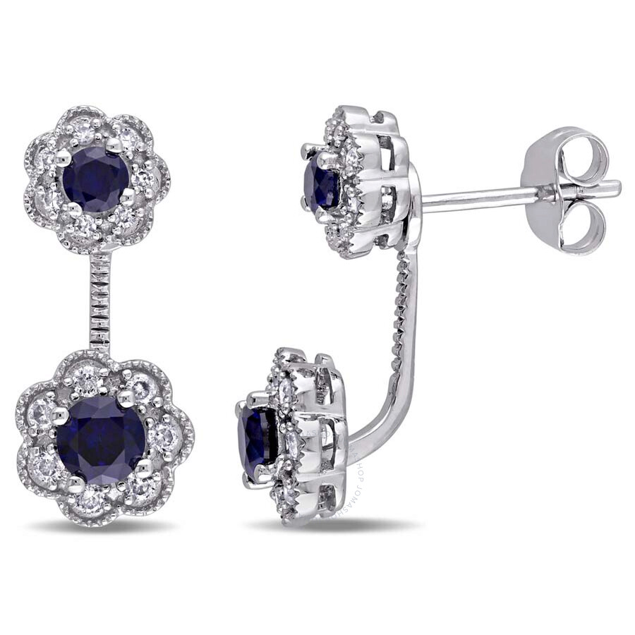 Laura Ashley 1/4 CT TW Diamond & 7/8 CT TGW Created Blue Sapphire Stud Flowe..