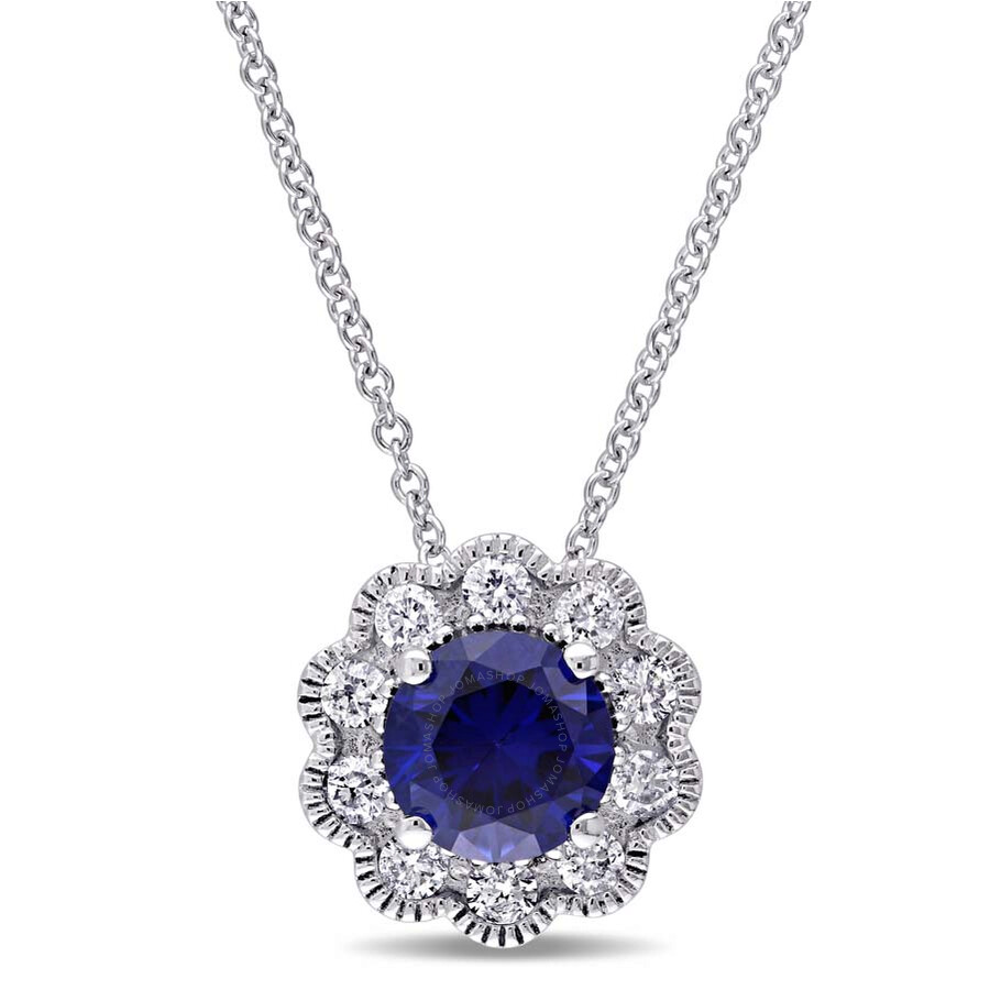 Laura Ashley 1/4 CT TW Diamond and 1 CT TGW Created Blue Sapphire Pendant wi..