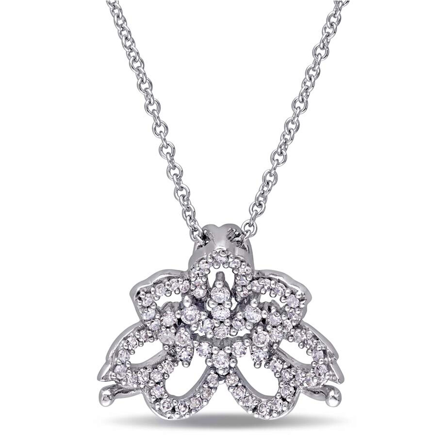 laura ashley laura ashley 14 ct tw diamond flower pendant with chain
