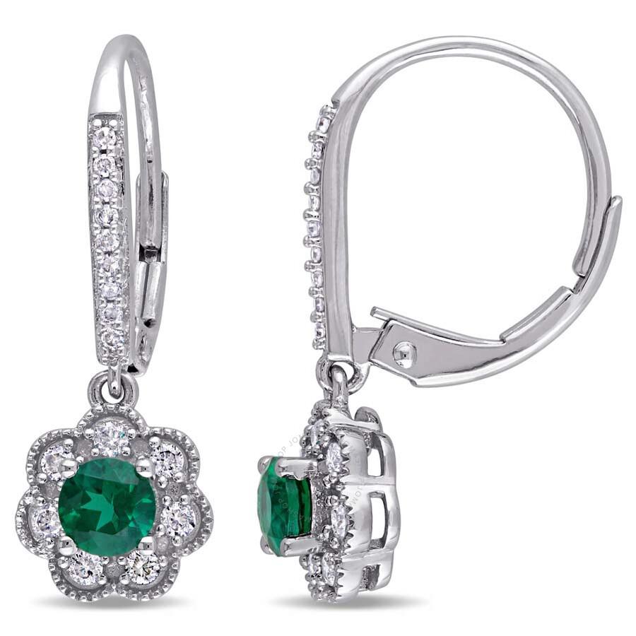 Laura Ashley 1/5 CT TW Diamond & 1/2 CT TGW Created Emerald Lever Back Earri..