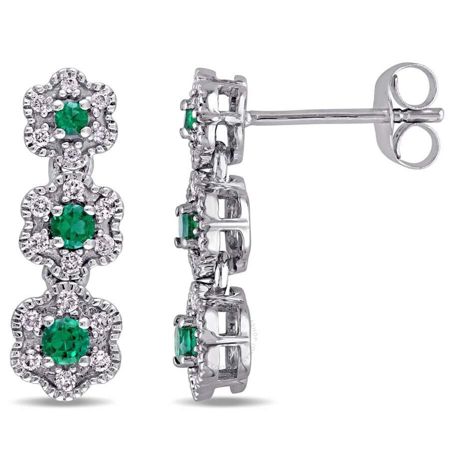 Laura Ashley 1/5 CT TW Diamond & 1/5 CT TGW Created Emerald Stud Earrings