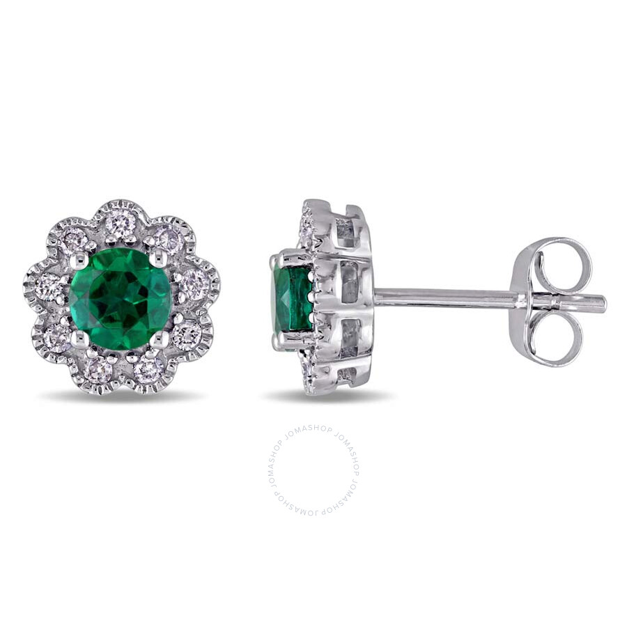 Laura Ashley 1/5 CT TW Diamond & 3/4 CT TGW Created Emerald Stud Earrings