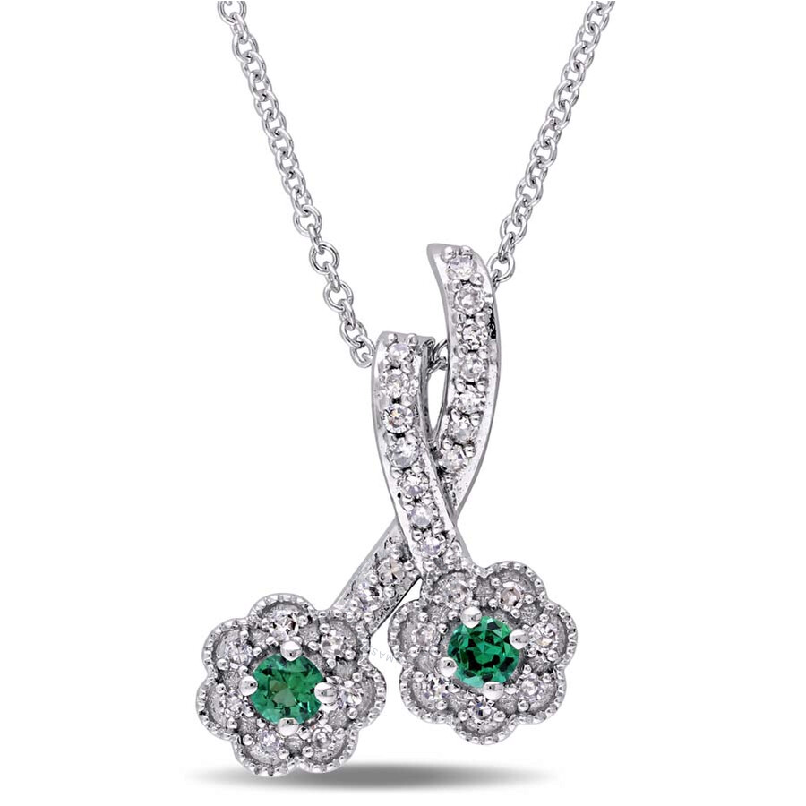 Laura Ashley 1/6 CT Diamond TW And 0.06 CT TGW Created Emerald Fashion Penda..
