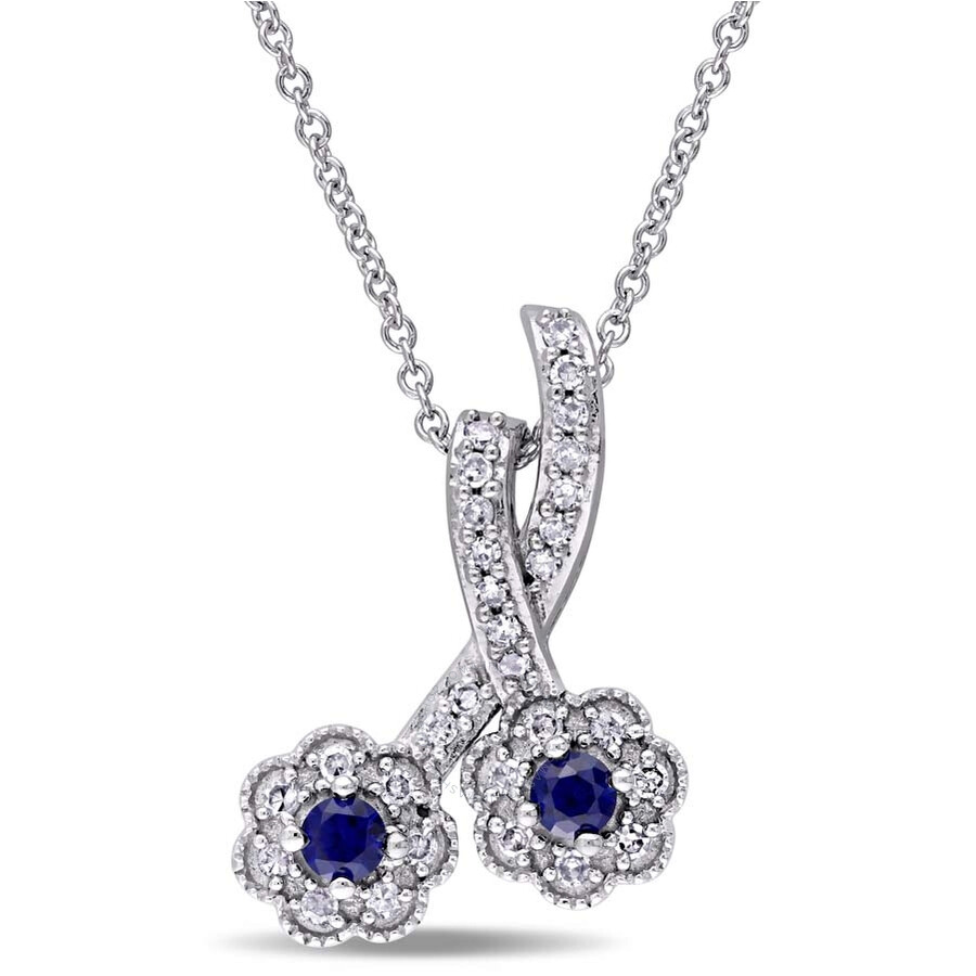 Laura Ashley 1/6 CT Diamond TW And 1/5 CT TGW Created Blue Sapphire Fashion ..