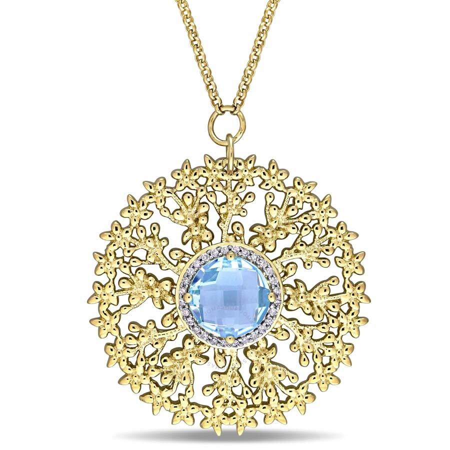 Laura Ashley 1/8 CT TW Diamond and 5 1/3 CT TGW Sky Blue Topaz Necklace