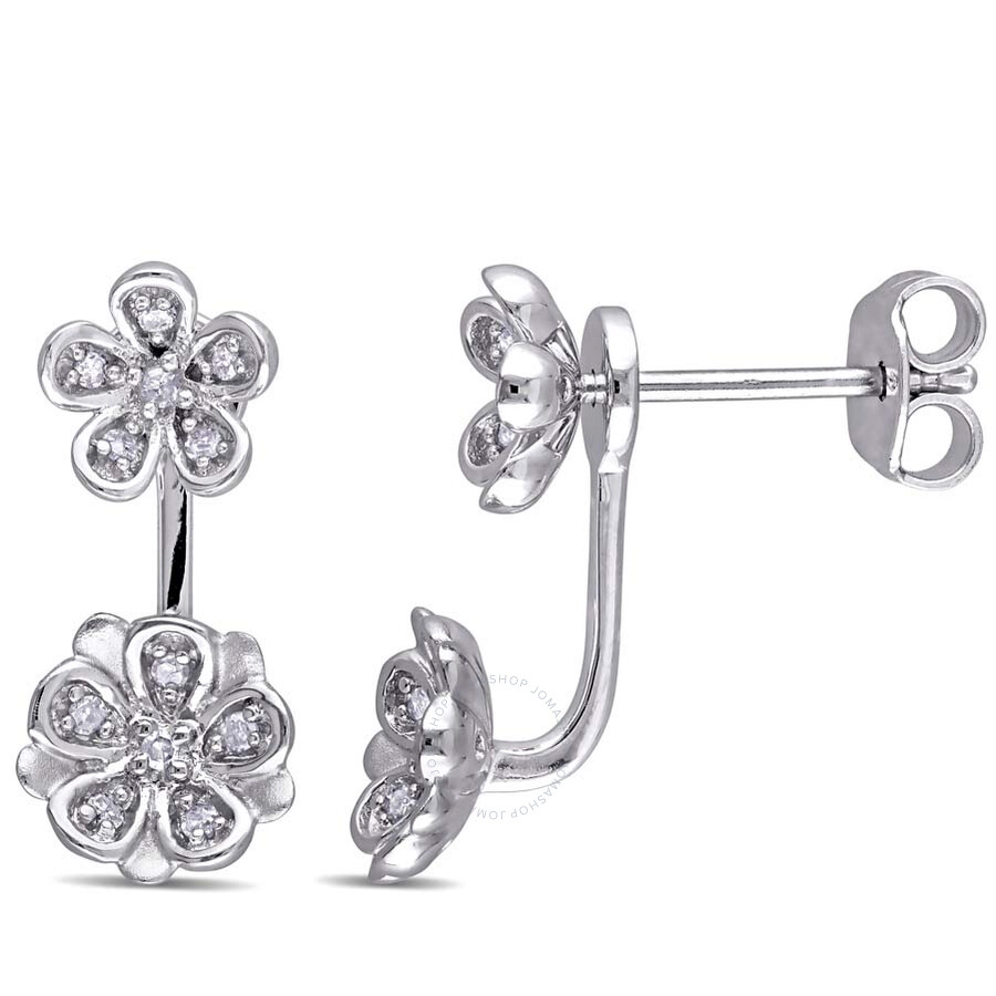 laura ashley laura ashley 18 ct tw diamond stud flower 2piece earrings
