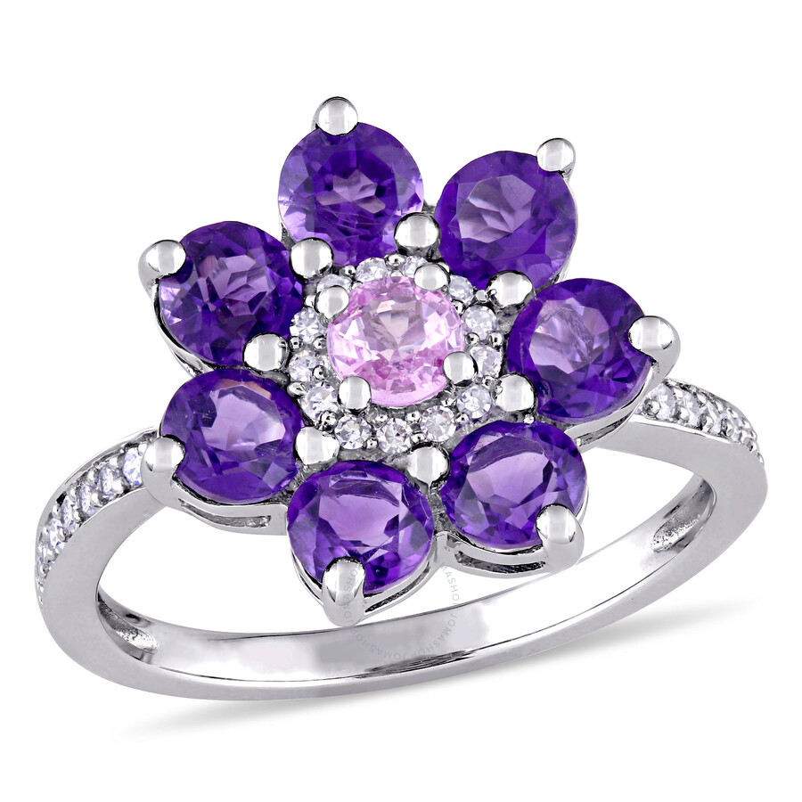 Laura Ashley 14K White Gold with A Pink Sapphire Flower Ring Size- 7