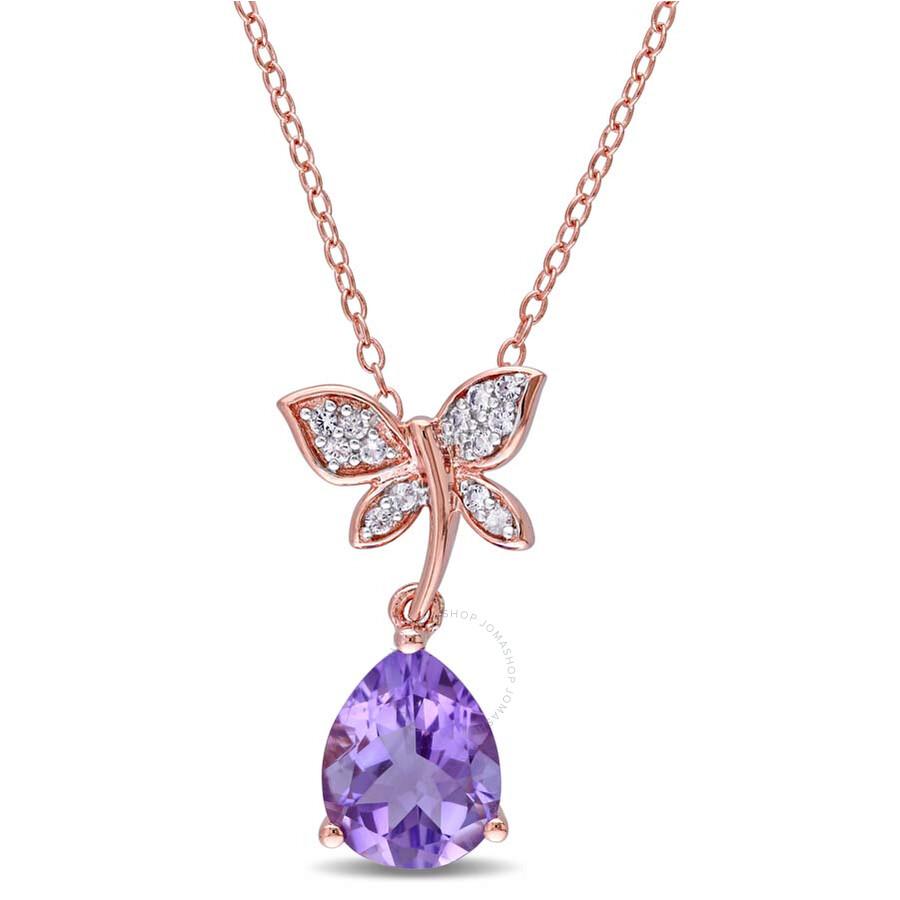 Laura Ashley 2 1/8  CT TGW Amethyst White Sapphire Butterfly Pendant